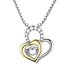 Goldtone Sterling Silver Heart Linked to Heart I Love You Pendant Necklace For Women 18 Box Chain >>> Check this awesome product by going to the link at the image.