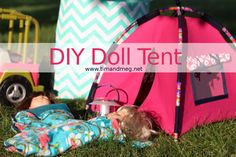 "DIY American Girl Crafts and Clothing Let me preface this post with this; going into most DIY projects I think ""This shouldn't be too hard"" and then it ends up being a beast that I can not conquer and it sits fini… Diy Doll Tent, Diy Cat Tent, Diy Tent, American Girl Crafts, American Girl Clothes, American Girls, American Clothing, Girls Tent, Ag Doll Crafts"