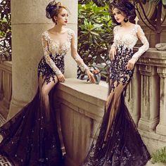 Sexy New Long Sleeve Mermaid Prom Dresses Lace Appliques Beading Ruffles vestido de festa longo Party Gown