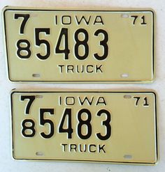 mixed lot of license plates all in good condition man 1971 iowa truck license plate pair