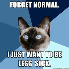 I can't express how much I mean exactly this. Well is never to be. Less sick would be the best that's possible. Sadly.
