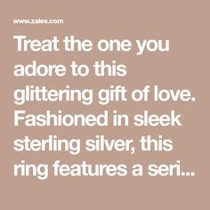 Treat the one you adore to this glittering gift of love. Fashioned in sleek sterling silver, this ring features a series of interlinked alternating right side-up and right side down open hearts, each scattered with shimmering diamond accents. A fun and fanciful design, this ring is finished with a bright polished shine. Custom made to fit her ring size. Sterling silver rings cannot be resized after purchase. Sterling Silver Diamond Rings, Silver Diamonds, Glitter Gifts, Heart Ring, Hearts, Fancy, Bright, Fit, Design