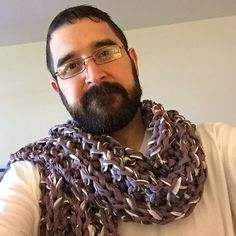 "Make this ""Mistake Rib"" scarf with Lion Brand Fettuccini! It's super stretchy, so wear it long or short - this super bulky scarf is on trend for fall! Free knit pattern calls for 2 balls of yarn and size 35 (19 mm) knitting needles."