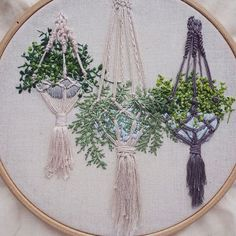 Embroidered Hanging Plants.