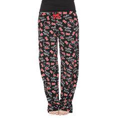 Hello Kitty Black Plush Pajama Pants ❤ liked on Polyvore featuring intimates, sleepwear, pajamas, fuzzy pajamas, pj pants, hello kitty, fuzzy pj pants and hello kitty pyjamas