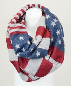 Leto Collection Red & Blue Americana Infinity Scarf