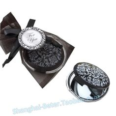 Great Bridesmaids Gift - Reflections Elegant Black-and-White Mirror Compact - Personal Makeup Mirrors Wedding Shower Games, Baby Shower Favors, Bridal Shower, Cheap Bridesmaid Gifts, Bachelorette Favors, Kate Aspen, Damask Wedding, Damask Party, White Mirror