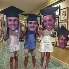 Graduation Party Planning, Graduation Party Decor, Grad Parties, Graduation Ideas, Graduation Celebration, 8th Grade Graduation, High School Graduation, Big Head Cutouts, Grad Party Decorations