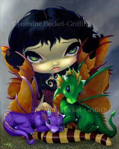 Two Cute Dragonlings baby dragon fairy art print by Jasmine Becket-Griffith 8x10