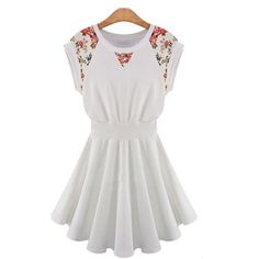 Piggy2gether White Flower Print Round Neck Short Sleeve Slim Dress * Visit the image link more details.(This is an Amazon affiliate link and I receive a commission for the sales)
