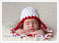 Christmas Earflap Hat Newborn Photo Props Crochet by knoodleknits