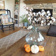 """Eight or nine years ago my decor partner in crime Sarah and I fell in ❤️ with and bought raw cotton stalks, wreaths & garlands…"""" Thanksgiving Decorations, Seasonal Decor, Holiday Decor, Fall Home Decor, Autumn Home, Table Centerpieces, Table Decorations, Pumpkin Centerpieces, Cotton Stalks"""