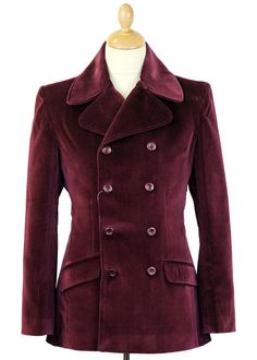 MADCAP ENGLAND Retro 60s Mod Double Breasted Jacket in Wine