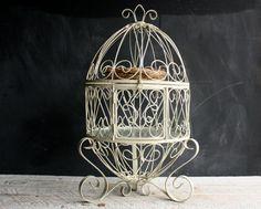 Vintage Wrought Iron Bird Cage Shelves