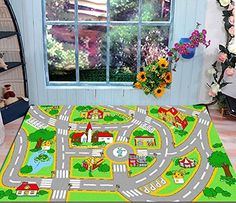 Amazon.com   HUAHOO Kidsu0027 Rug With Roads Kids Rug City Street Map Children  Learning Carpet Play Carpet Kids Rugs Boy Girl Bedroom Play Mat Childrenu2026