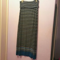 Max Edition Maxi Skirt Black White and Blue Stripped Size Small Soft Material Stretch Fit Max Studio Skirts Maxi