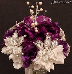 Purple Beaded Lily Wedding BRIDAL Bouquet ~ Eggplant Purple and White with Peonies and Roses. Unique French beaded flowers and beaded sprays ~ Can also be used for centerpiece or ceremony flowers!