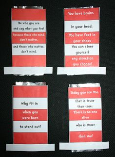 Seuss Hat Candy Bar Wrappers