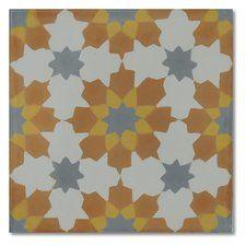 "Ahfir 8"" x 8"" Handmade Cement Tile in Multi-Color"