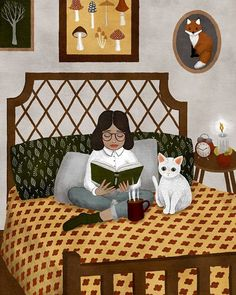 Girl reading with her cat