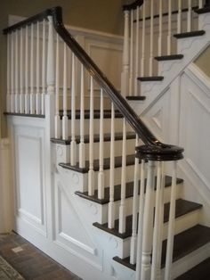 Wood Stairs And Rails And Iron Balusters: Stairway Renovation Villanova PA,  New Stair And Rail