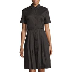 Melissa Masse Short-Sleeve Button-Front Pleated Shirtdress ($199) ❤ liked on Polyvore featuring dresses, black, long shirt dress, shirt dress, button front shirt dress, pleated dress and short sleeve dress