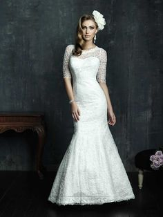 Half Sleeves Scooped Neckline Wedding Dresses with Covered Sheer Lace Back