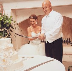 Groom went to West Point so he brought out the sword to cut the cake! Groom Cake, Sword, Wedding Inspiration, Bride, Wedding Dresses, Awesome, Lace, Photography, Fashion