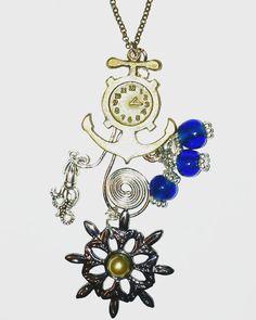 "Nautical steampunk necklace, 24"" #steampunk #steampunkjewelry #steampunkstyle #gothic #gothicstyle #gothicjewelry #goth #gothstyle #gothjewelry #anchor #compass #sealife #pirates #nautical #nauticalstyle #nauticaljewelry #ocean #oceanjewelry #antiquebronze #antiquebronzejewelry #texasgirl #texasstyle #dfwartist #dallasartist #handcrafted #handcraftedjewelry #customjewelry #amandanancedesigns"