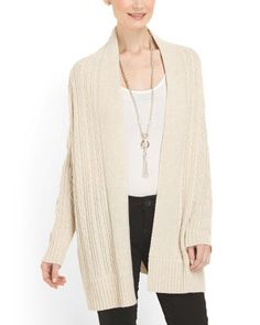 All Over Cable Draped Cardigan