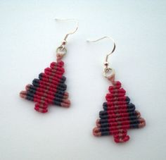 Macrame earrings. Christmas tree earrings. Holiday's by asmina, $16.00