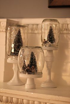 Easy Christmas DIY - Candlesticks, Jars and Mini Trees More