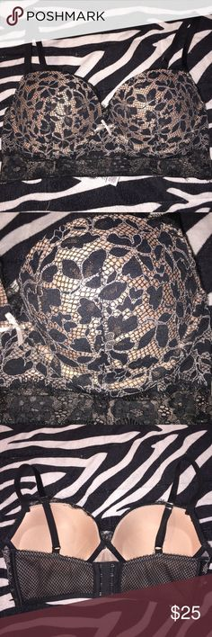 Victoria Secret Dream Angels Padded Demi Gorgeous VS Dream Angels Padded Demi. Black lace floral designs with a light pink underneath four rows of hooks in the back! In perfect condition only worn once! Victoria's Secret Intimates & Sleepwear Bras