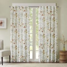 Meg Floral Rod Pocket/Back Tab Window Curtain Panel - BedBathandBeyond.com