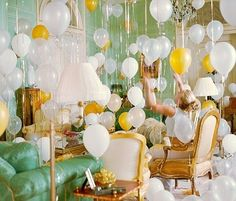 Hang balloons upside down from The ceiling if you don't have helium.