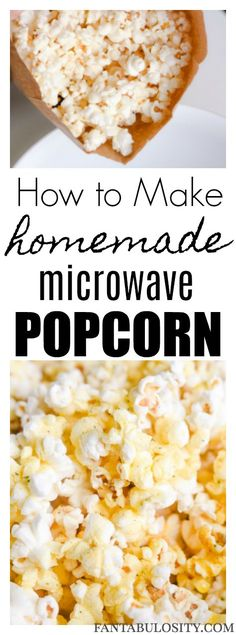 How to make homemade popcorn in the microwave in a brown paper bag without oil - Easy Recipes and Crafts - Cooking Popcorn, Homemade Microwave Popcorn, Popcorn Recipes, Microwave Recipes, Microwave Food, Popcorn Snacks, Healthy Popcorn, Healthy Snacks, Healthy Recipes