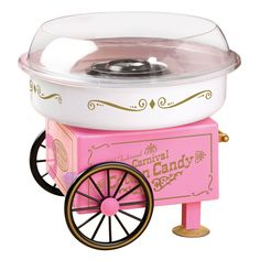 The Nostalgia Electrics Vintage Collection Hard and Sugar-Free Candy Cotton Candy Maker is a convenient tabletop unit. While designed to look like a nostalgic cart of the past, the Cotton Candy Maker is in fact a technologically modern appliance.