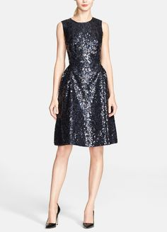 Party dress! Love this black sequin Kate Spade fit & flare dress.