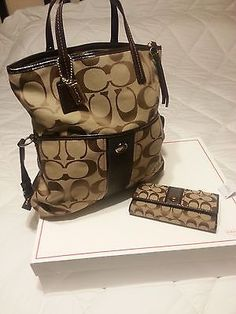 NWT Coach Signature Foldover Tote Bag Beige Hobo Purse Set, wallet included