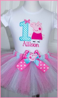 Super lindo Peppa Pig tutu cumpleaños traje personalizado con