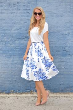 Blue and white floral skirt.
