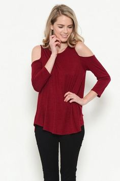 Salt Tree Women's Soft Rayon Relaxed Cold Shoulder Top, US Seller