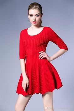 2017 2017 New Spring Red Dress With Sleeves Scoop Neck Knitted Dresses In Stock Elegant Women'S Gown From Dressonline0603, $61.31 | Dhgate.Com