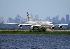 ETIHAD AIRBUS A340 (A340-500), A6-EHA, at JFK, New York, USA. 2008