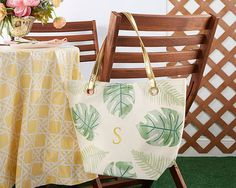 Pretty Palms Canvas Tote Bag With Gold Handles - Personalization Available