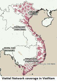 Viettel Network Coverage In VietNam (shown in pink). Sim, Vietnam, Cards, Playing Cards, Maps