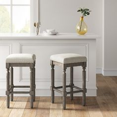 Erving Wood and Upholstered Backless Counter Stool Taupe (Brown) Threshold - Counter Stools - Ideas of Counter Stools Island Chairs, Stools For Kitchen Island, Butcher Block Kitchen, Upholstered Bar Stools, Swivel Chair, Table Extensible, Backless Bar Stools, Counter Height Bar Stools, Room Interior