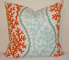 OUTDOOR Turquoise Coral Blue Orange Pillow Cushion Covers Coral Porch Pillows 18x18. $18.00, via Etsy.