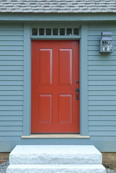 Post and Beam Home with Custom Handmade Door Entry New England Homes door hardware and lantern Exterior Doors, Entry Doors, Entryway, New England Homes, New Homes, American Country, Early American, Grey Houses, Country Interior