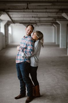 An industrial engagement session is what we needed for these newly engaged people! I absolutely love the grey sweater paired with the red and blue checkered men's shirt. It's the perfect outfits for what to wear for engagement photos. Photographed in Tennessee by Knoxville Engagement Photographer Erin Morrison Photography www.erinmorrisonphotography.com #engagementphotos #engagementphotography #downtownweddingphotos #urbanengagementphotos Engagement Dresses, Engagement Session, Urban Engagement Photos, Wedding Venues, Wedding Photos, Engagement Photographers, Social Events, Grey Sweater, Tennessee
